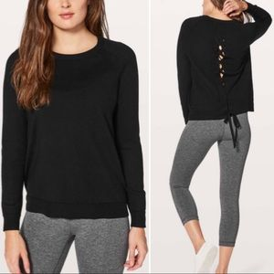 Lululemon Lace Up Tied To You Black Sweater